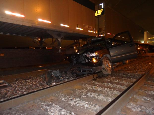 A driver was in stable condition when a car was struck by a train Saturday, March 16, 2013.