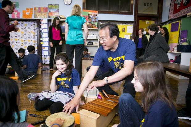 Yo-Yo Ma visited Swift Elementary School Monday, March 4, in Edgewater.