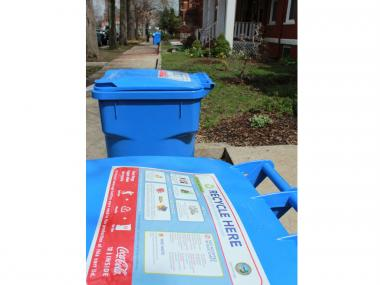 On Wednesday, the city delivered blue recycling bins  — like presents on our front stoops — to a block of row houses in Pullman that mostly don't offer access to the alley from the front, forcing folks to wheel the bulky things down the block to the alley, where they belong.