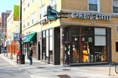 The Caribou Coffee at 2452 N. Clark St. is one of two Chicago locations that will close Sunday. The city's remaining locations with transition to Peet's Coffee & Tea within the next 12 to 18 months.