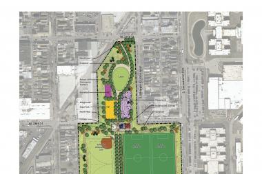 The Chicago Park District's latest proposal for a park at the old Celotex asphalt factory site at 31st Street and Albany Avenue.