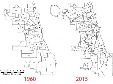 A comparison between city ward maps in 1960 and 2015 show how drastically the boundaries have changed.