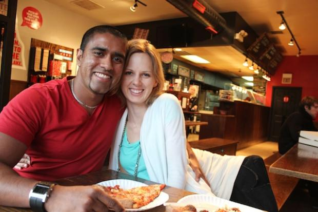 Stacy Masnyk and PJ  Jayawardene  met at Dimo's Pizza — formerly Ian's — and got engaged there a year and a half later.
