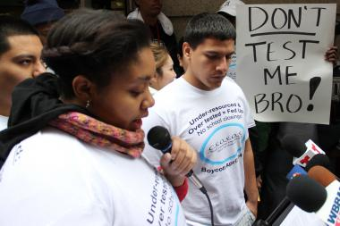Alexssa Moore and Armando Rodriguez lead the student test boycott and protest outside Chicago Public Schools headquarters.