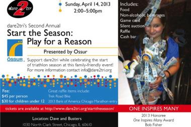Dare2Tri will host a fundraiser from 2 to 5 p.m. Sunday at Dave and Busters, 1030 N. Clark St.