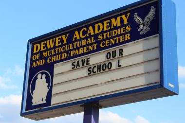 Parents and community members met for a Local School Council meeting at Dewey Elementary Thursday after  a showdown between Dewey parents and an inventory team sent by Chicago Public Schools.