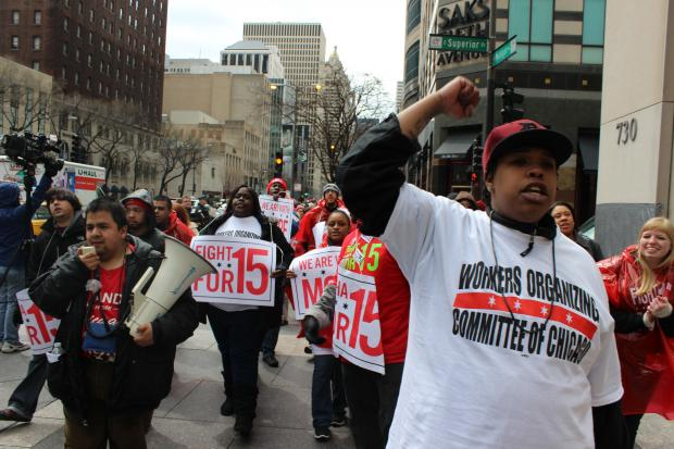 Fast food and retail workers protested downtown Wednesday to demand what they called a livable wage of $15 per hour.