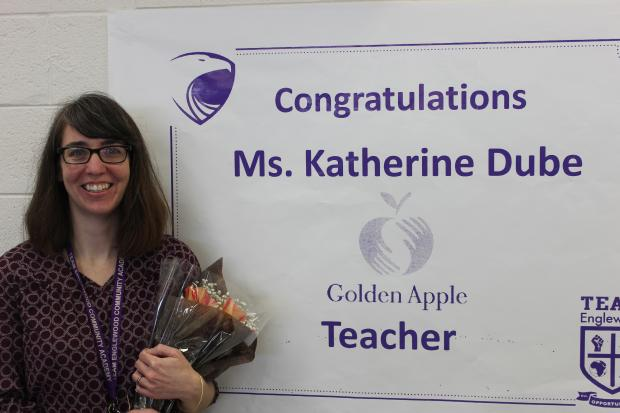 Katherine Dube, a ninth-grade reading teacher at Team Englewood High School on the South Side, is among the 2013 Golden Apple Award winners.