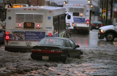 A heavy storm caused flooding throughout the city Thursday, April 18, 2013.