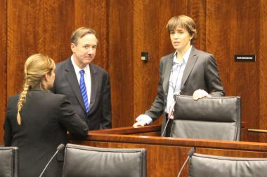 CTA President Forrest Claypool and state Rep. Deborah Mell spoke before Monday's hearing on the Ventra card.