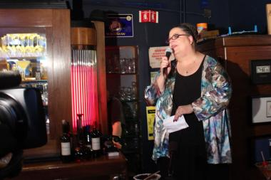 CTU President Karen Lewis spoke in front of cameras and supporters Thursday night at Weegee's Lounge, 3659 W. Armitage Ave.