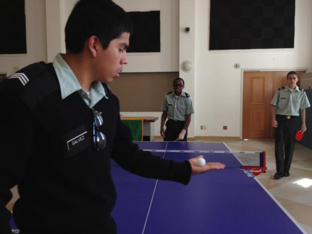 The students at Chicago Military Academy in Bronzeville played table tennis as part of the Unplug 'N Play program sponsored by Killerspin.