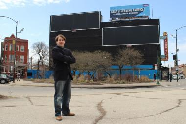 Logan Square resident Andrew Schneider started a petition against these billboard frames overlooking a historic landmark district in Logan Square.