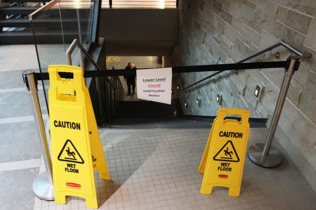 Two weeks after its grand opening, the Damen Student Center's basement flooded during heavy rains.