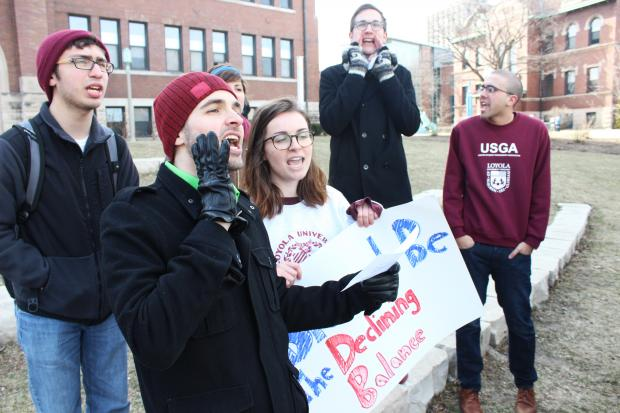 Students gathered Friday afternoon to make a point to administrators and incoming students.