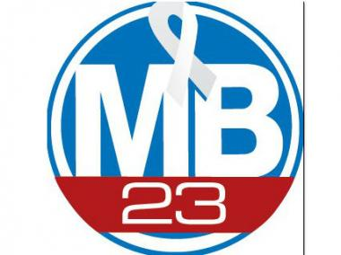 """MB23"" logo in honor of Chicago area hockey player Mark Beban, who's battling stage 4 lung cancer."