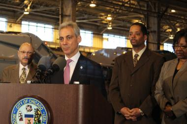 Backed by Streets and Sanitation Commissioner Charles Williams and Aldermen Anthony Beale and Michelle Harris, Mayor Rahm Emanuel announces the final phase of the switch to grid-based garbage collection.