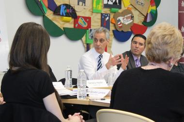 Mayor Rahm Emanuel, with Mike Tomas of the Garfield Park Community Council at his left, discusses Seed Chicago projects at Monday's roundtable.