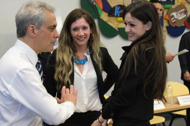 Mayor Rahm Emanuel talks with Marisol Sarabia and Ziba Sarabia Lennox of MaZi Dance Fitness, a Seed Chicago project, after Monday's roundtable discussion.