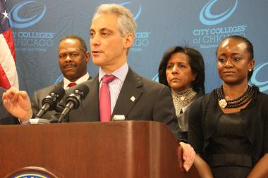 Mayor Rahm Emanuel, with City Colleges Chancellor Cheryl Hyman at right, said the Malcolm X College expansion would focus the facility on health sciences and create almost 1,000 construction jobs.