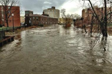 The swollen banks of the North Branch of the Chicago River.