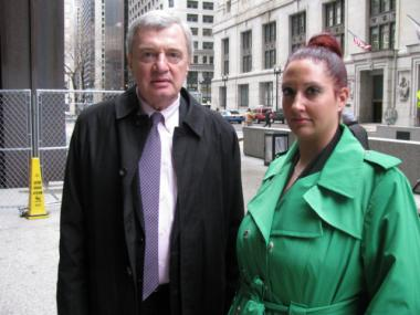 Attorney Robin Omahana (left) and Jennifer Fitzgerald (right), whose car received more than $105,000 worth of tickets, stand outside the Daley Center after a court hearing Wednesday afternoon.