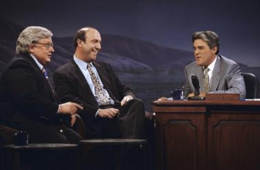 "Roger Ebert and Gene Siskel with Jay Leno on ""The Tonight Show."" The competition between them was real."