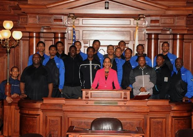 Simeon Career Academy High School boys basketball team traveled to Springfield Tuesday, April 23, 2013 to be honored by state Sen. Jacuqueline Collins (D-Chicago0 and the Illinois General Assembly.