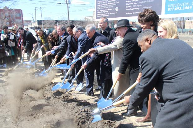 After seven years in the works, crews broke ground on Tuesday on 96 new apartments and a Walmart on the corner East 47th Street and South Cottage Grove Avenue.