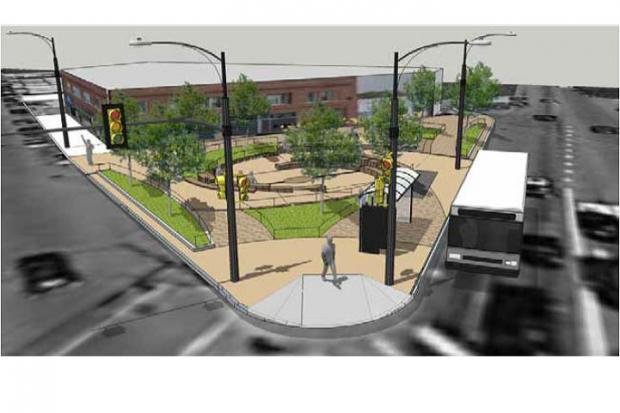 Photos and renderings of the Milwaukee Avenue Green Development Corridor.