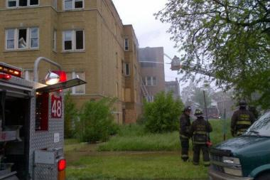 Firefighters respond to a blaze in a vacant building on the West Side Thursday morning.