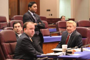 Aldermen Scott Waguespack (from l), Brendan Reilly, Ameya Pawar and Bob Fioretti are four of the nine members of the City Council's Chicago Progressive Reform Coalition.
