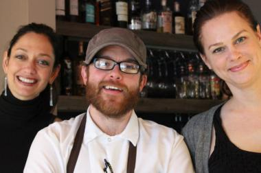 Chef Curtis Gamble (center) will be leaving Bread & Wine at the end of June. Owners Lisa Fosler Kelly (left) and Jennifer Wisniewski are handing over the culinary reins to Michael Dean Reynolds.