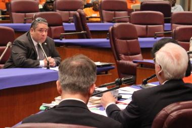 Brian Bernardoni of the Chicago Association of Realtors faces questioning from Ald. Richard Mell at Wednesday's meeting.