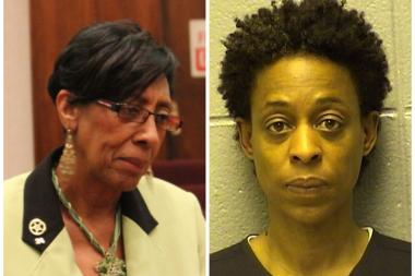 Ald. Carrie Austin (l.) expressed sympathy and concern over the troubles faced by her former colleague Sharon Dixon, who was arrested on a gun charge last weekend.