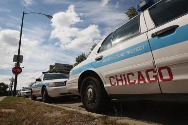 An unmarked car was hit with bullets in the Chicago Lawn neighborhood, police said.