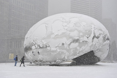 Remember this? Snow is expected to hit Chicago again Monday, though not nearly this bad.