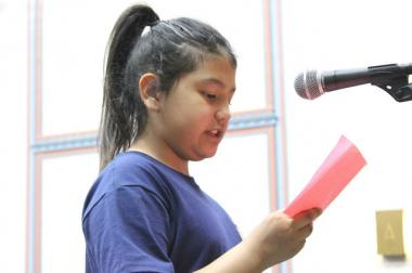 A Courtenay student speaks at a community forum held in April.
