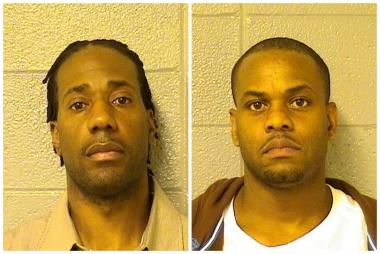 Demar Davis (left) 37, faces one felony charge of possessing counterfeit credit cards. Raymond Scott, 40, is accused of the same crime as well as one count of possessing document making equipment for the credit car skimmer police allegedly found in his pants, according to court records and prosecutors.