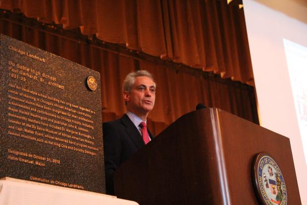 Mayor Rahm Emanuel presented DuSable High School with a plaque designating it as a landmark.