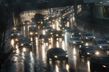 Traffic backs up on the Kennedy Expressway on April 18, when thunderstorms dumped up to 5 inches of rain on parts of the Chicago area overnight.