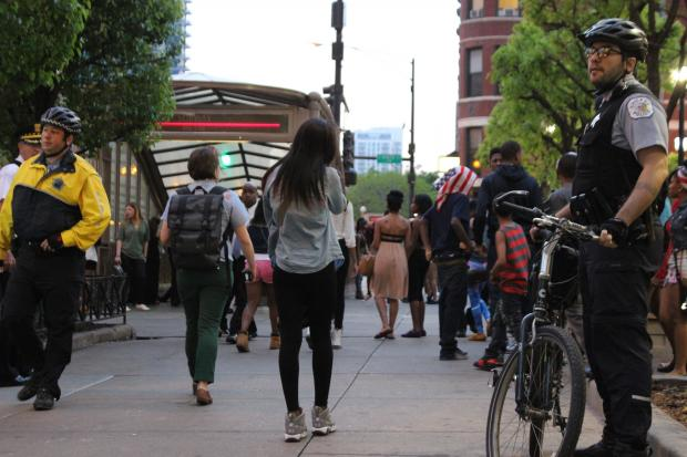Police corralled large groups of teens to the Red Line near Chicago Avenue and State Street Saturday night.