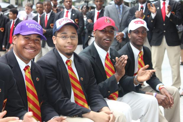 Seniors attending Urban Prep high school participate in the fourth annual College Signing Day.