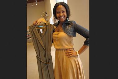 Jasmine, a former Scoop NYC Bucktown employee, posed with a green summer dress by designer Alice + Olivia in June 2010.  Alice + Olivia is one of the many designer labels Scoop NYC offers in its boutiques, which have 15 locations including two in Chicago.