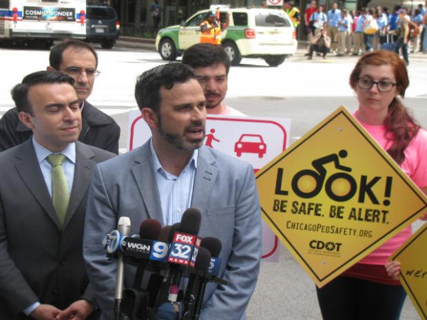 City debuts first all-ways crosswalk at State and Jackson in the Loop Friday morning.