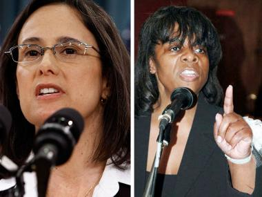Rikki Jones (right), president of Cook County Democratic Women, criticized Illinois Attorney General Lisa Madigan for her support of same-sex marriage.