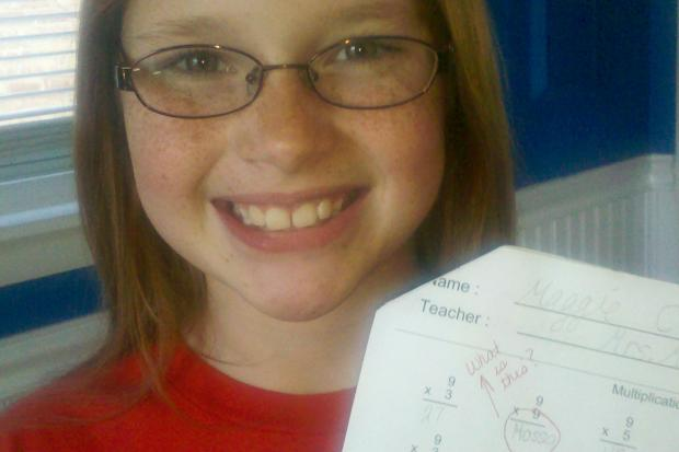 """Third-grader Maggie Ciara answered """"Hossa"""" when her math test asked her to multiply 9 times 9. Blackhawks star Marian Hossa wears the No. 81."""