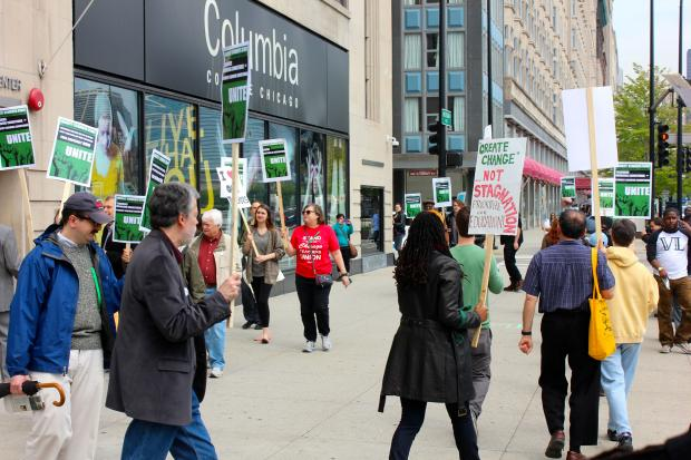 Part-time Columbia College faculty took to the streets Thursday to rally against policies they say unfairly target them to cut costs.