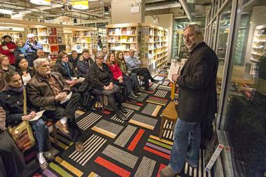 "University of Chicago professor Neil Shubin discusses his latest book, ""The Universe Within,"" at the new location of the Seminary Co-op Bookstore."