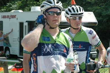 Shawn Briggs (r.) and Scott Newland take a break during last year's 190-mile Pan-Massachusetts Challenge, an annual bike-a-thon that raises money for life-saving adult and pediatric cancer research and patient care at the Dana-Farber Cancer Institute.